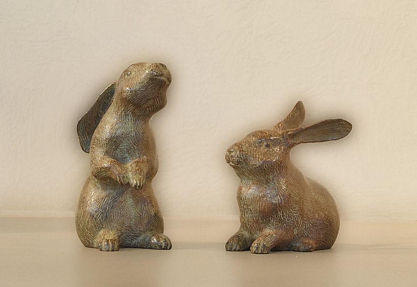 ウサギⅠ・Ⅱ ブロンズ  松田光司作