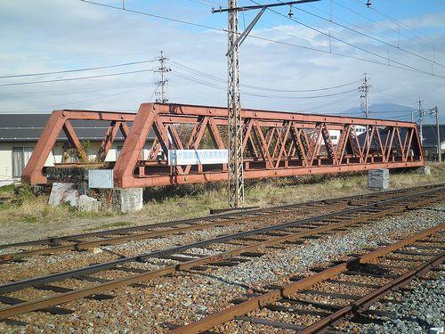 長野電鉄旧・松川橋梁(小布施駅構内・2013年12月1日)