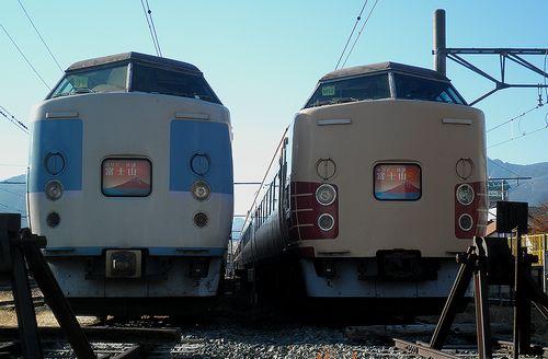 千マリ183系「31」編成(左)・八トタ183系「M52」編成(右)(2013年11月30日・河口湖駅)