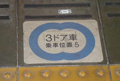 「3ドア車乗車位置」の表示(2013年12月25日・石神井公園駅)