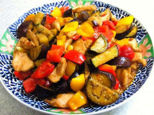 130720-211鶏肉と茄子と2色ピーマンの甘辛味噌炒め(S)
