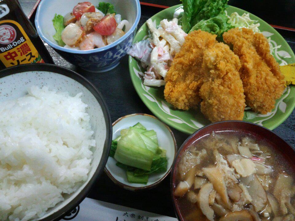 カキフライ定食 新潟村上 いそべ食堂