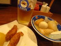 鶏皮ギョーザ、おでん、生ビール