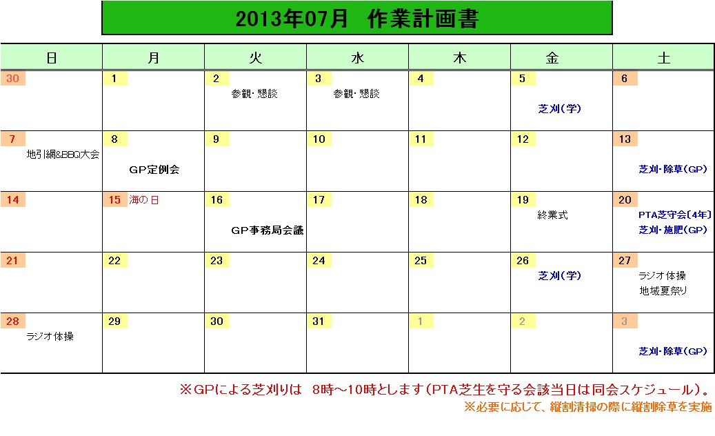 201307作業計画