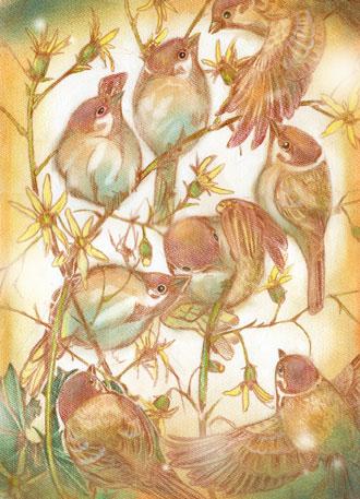 モミジツワブキと雀の群れW