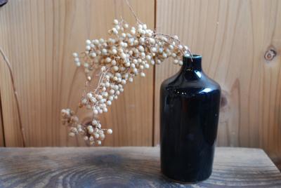 ルリ釉細長花器