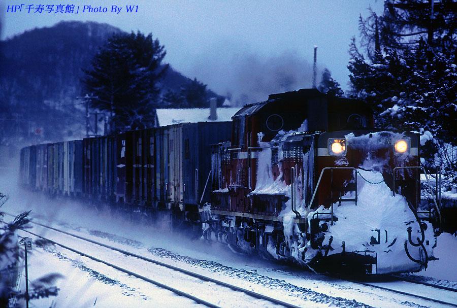 雪まみれのDD51貨物列車
