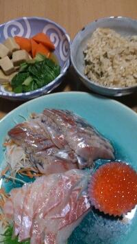 お刺身の夕飯。