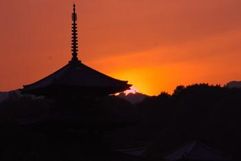 法起寺の夕焼け3