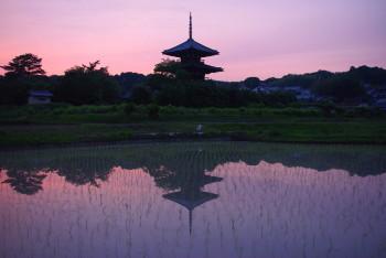 法起寺の夕焼け1
