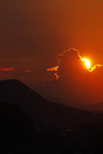 明日香八釣 夕日 雲1