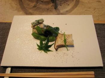 蓮根と芋茎の胡麻和え 枝豆しし唐の焼き物、エリンギの一口寿司