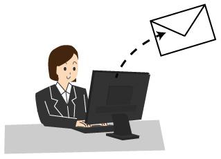 パソコンでメールを出す女性のイラスト
