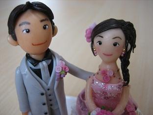 ウェディング人形ピンク2