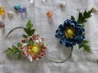 プリント柄の布花