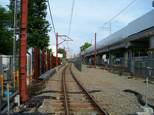 西武拝島線の萩山第3踏切道@小平市I 萩山駅方面