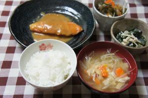 鮭の味噌煮定食