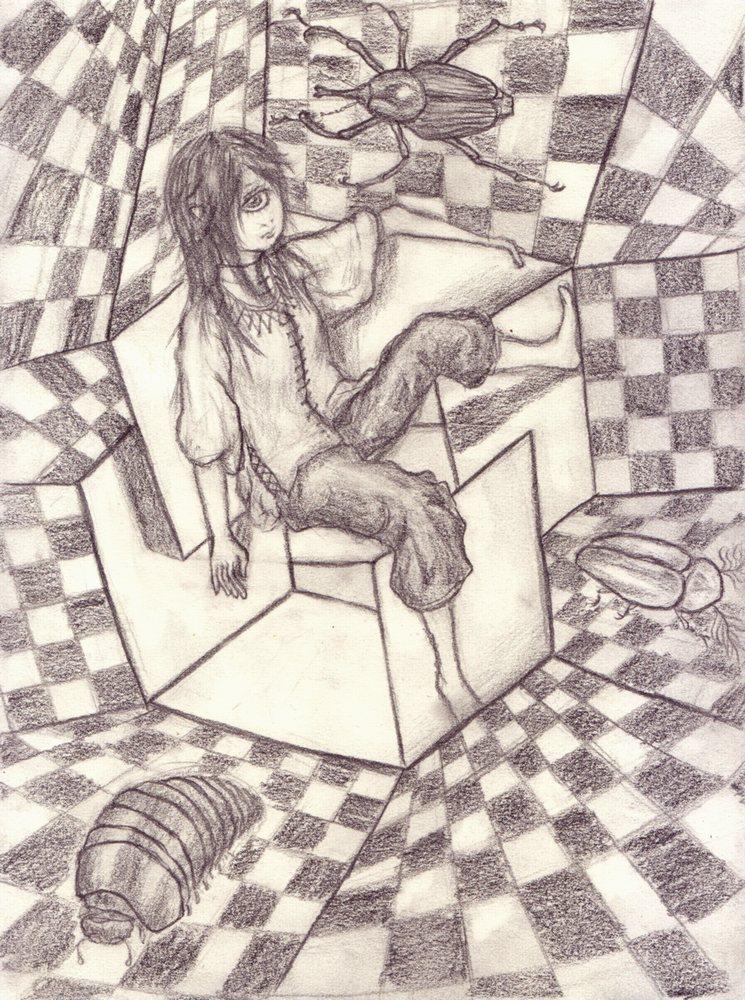 両眼立体視的単眼立体的ヨゼフ・アルバース的椅子