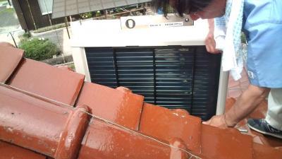 エアコン 室外機 屋根置き