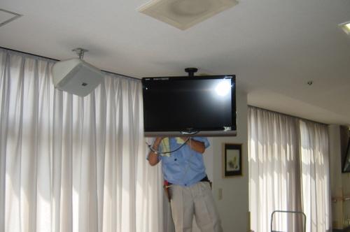 山口市阿知須 N様 天井吊り下げテレビ 取替工事 液晶テレビ LC-32SC1