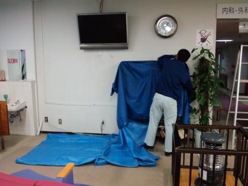 山口市D施設様 シャープ液晶テレビ LC-46XF3 壁掛工事