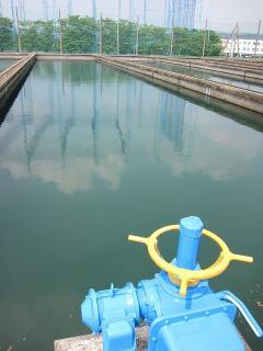 男川浄水場 沈でん池