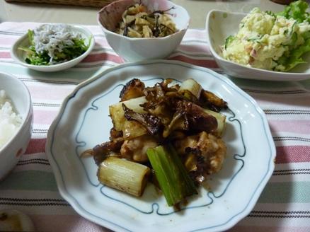 鶏肉とネギの炒め物