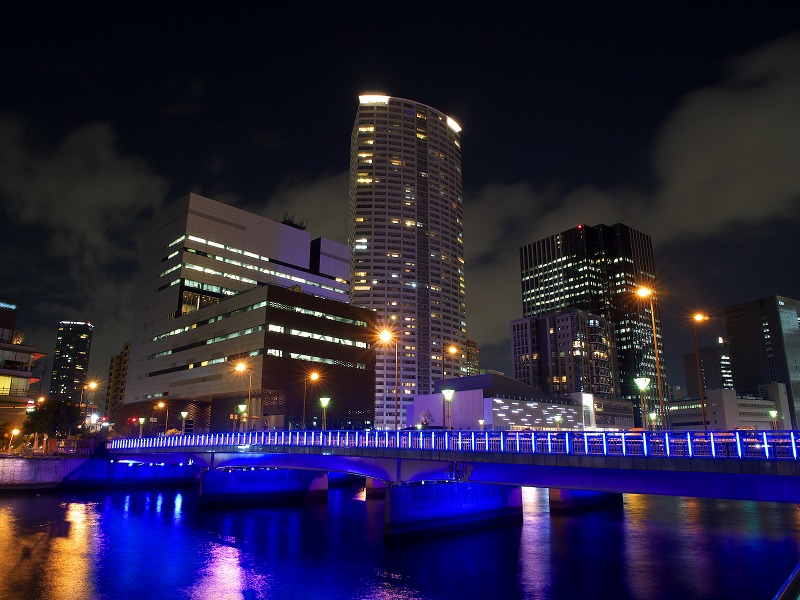 ほたるまち 夜景 玉江橋ライトアップ
