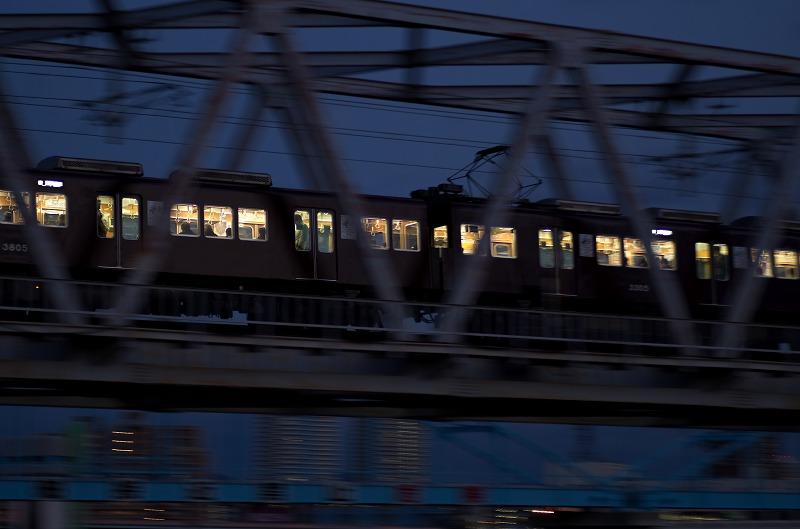 淀川河川敷・長柄橋の夕景・夜景