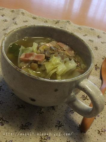 レンズ豆とベーコンのスープ1