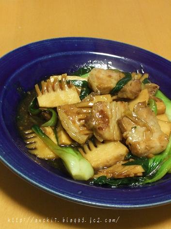 厚切り豚バラと青梗菜の炒め物