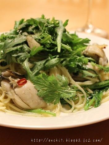 牡蠣と春菊のペペロンチーノ