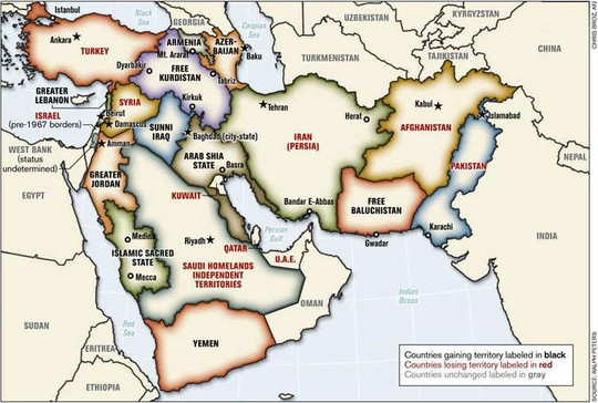 地図「新しい中東(The New Middle East)」
