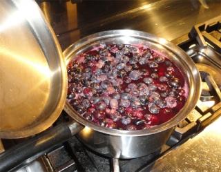 2013 庭で採れたブドウを煮る2