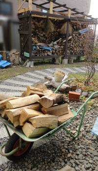 2013秋 薪を室内の置き場に運び込む