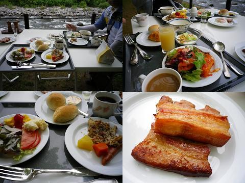 渓流での朝食