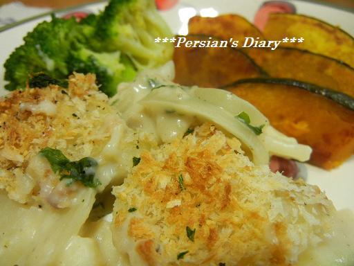 鱈とじゃが芋の豆乳グラタン盛り付け