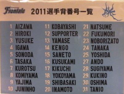 2011背番号