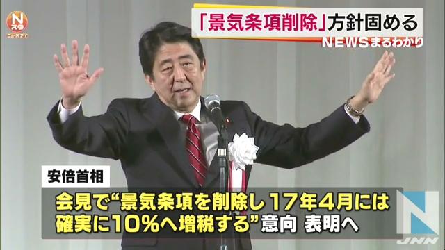 安倍首相、「景気条項」削除する方針を固める(TBS