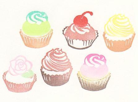 カップケーキ6種色見本