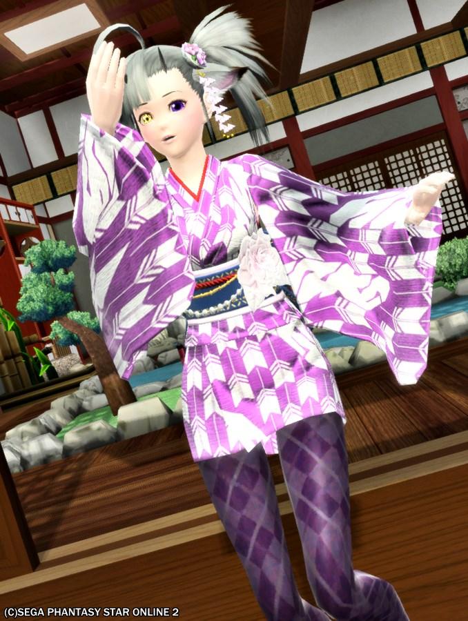 紫タイツには紫の浴衣!