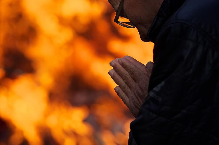 小国神社のどんど焼き 一