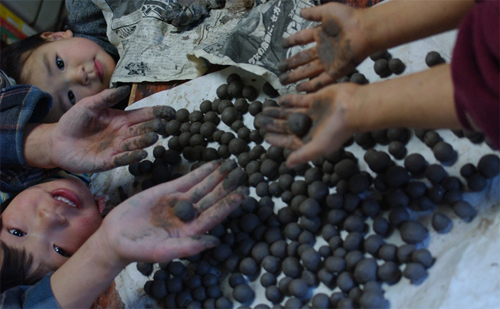 粘土団子作り