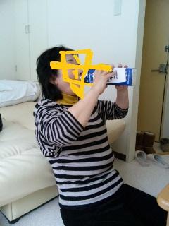 母の牛乳ラッパ飲み