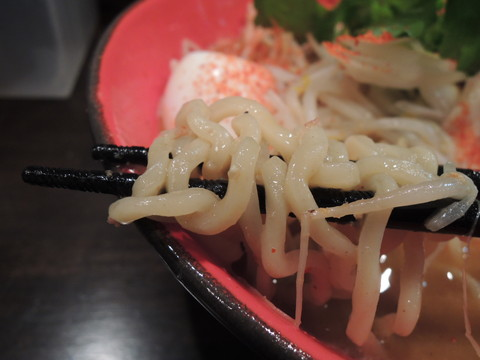 「辛味噌らーめん+チャーシュー増し」の麺