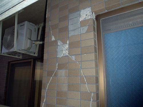 05 妻側外壁磁器タイルの損傷
