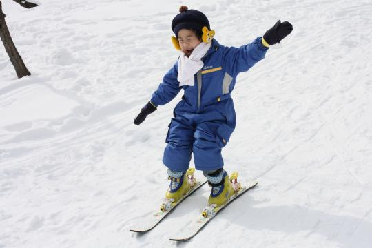 スキーデビューの次男