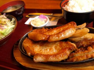 ポークジンジャー定食(洋風生姜焼き)@渡