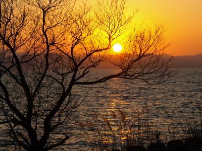 夕陽@猪苗代湖 上戸浜