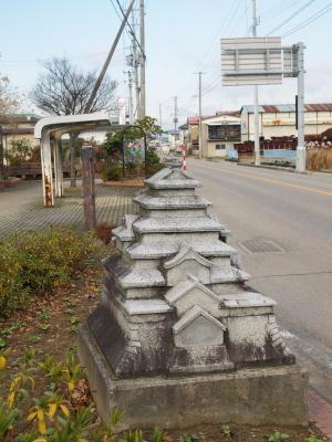 道端の鶴ヶ城オブジェ@門田町